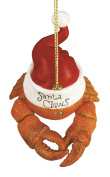 Santa Claws Crab in Santa Hat Christmas Holiday Ornament Resin