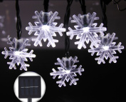 Inngree White Snowflake Solar String Lights, 6.1m 30 LED Waterproof Solar Power String Lights for Parties,gardens,outdoor,home,holiday Decorations, Christmas Tree Decorations