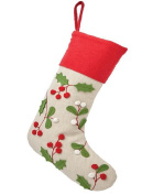 Martha Stewart Living Holly and Berries Christmas Stocking, Red Trim