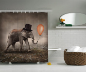 Elephant Shower Curtain Surreal Art Decor by AMbesonne, Funny Illusionist Elephant With Black Hat Magic Balloon, Bathroom Accessories, 69W X 70L Inches