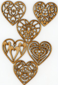 Heart Ornaments Wooden Valentine or Christmas Holiday Decorations Set of 6, by EP Laser