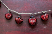 Valentine RED MERCURY GLASS Heart Garland 170cm long NEW Vintage Style Design