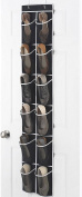 "Zober Narrow Over the Door Shoe Organiser with 12 Mesh Pockets, Over the Door Organiser Great for Accessories, Toiletries, Laundry Items, Black with White Trim. 12"" x 57 ½"""
