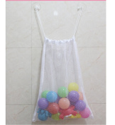 HENGSONG Baby Kids Bath Toy Organiser Hanging Drawstring Mesh bag with 2 Suction Cup, White