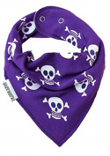 AWARD WINNING Purple Skull & Crossbones Baby Dribble Bib, Alternative Pirate Girls Baby Bandana Bib - Baby Moo's