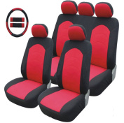 Car seat covers universal set Steering wheel cover Seat Belt Pad Seatbelt Pads Harness Cushion Seat Covers Universal Car Seat Cover Set Black/Red