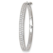 9 Carat White Gold Pave Set Cubic Zirconia Hinged Baby Bangle - Christening Gift - British Made - Hallmarked