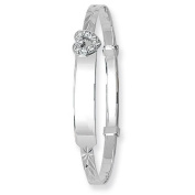 9 Carat White Gold Cubic Zirconia Heart Expandable Identity Baby Bangle - Christening Gift - British Made - Hallmarked