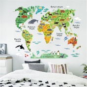 Lalang Multicoloured World Map Stickers for Kids Rooms Wall Sticker Diy Bedroom Decor Nursery Decal Art