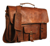 Krish 43cm Vintage Leather Messenger Soft Leather Briefcase Satchel Laptop