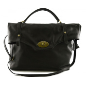 Made In Italy Genuine Leather Woman Bag Colour Black Tuscan Leather - Woman Bag