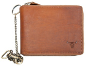 Natural Leather Biker's Pure Leather Wallet with Metal Chain with a Bull Head