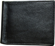 Genuine Leather Slin Wallet with money clips - Black