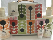 Orla Kiely Large Toiletry Travel Bag inc Orange Caraway Shower Gel, Sage Lavender Body Milk, Rose Mint Leaf Hand Balm