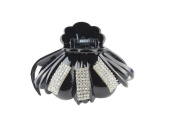 Mytoptrendz® Black Plastic Octopus Claw Clip With Sparkly Crystal