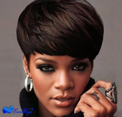 Eseewigs 100% Real Virgin Remy Human Hair Free Part Short Stylish Wig with Bangs Brown Human Hair Celebrity Wig for Women