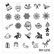 Plate BMS 216 Bundle Monster Christmas/X-mas Ice Flower Christmas Nail Art Stamping Template