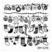 Sou 'wester Plate 219 Bundle Monster Christmas/X-mas Ice Flower Christmas Nail Art Stamping Template