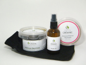 Nuts Organic - Moroccan Hammam Gift Set (06) - Black soap with olives 250g, Argan oil 100ml, Ghassoul clay with rose 200g, kessa glove