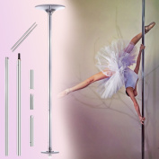 Ridgeyard 45mm Chrome Spinning / Static Portable Dance Pole Exotic Stripper Spinning Fitness Exercise Weight Loss Professional Kit Extendable from 2235mm (2.1m) to 2745mm (2.7m)+ Instructional DVD