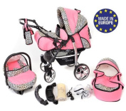 3-in-1 Travel System incl. Baby Pram with Swivel Wheels, Car Seat, Pushchair & Accessories, Pink & Leopard