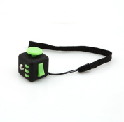 LnLyin Stress Cube for Fidgeter Anxiety Attention Toy Relieves Stress And Anxiety for Children and Adults Black and Green
