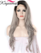 K'ryssma Grey Ombre Wigs Black Roots Soft Synthetic Hair Side Deep Parting Wavy Full Head Lace Front Wig for Women Natural Looking Half Hand Tied Heat Safe 60cm