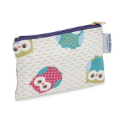 Blue Badge Company Padded Cotton Zip Up Cosmetic Purse with Waterproof Lining, Small Owl Patterned