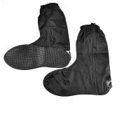 Black Menba Motorcycle Men Waterproof Outdoor Protective Gear Rain Boot Shoe Cover Zipper US 10-11 / Euro 44-45