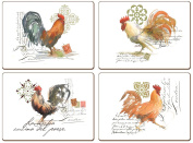 """CALA Home """"Watercolour Rooster"""" Placemats - Set of 4"""