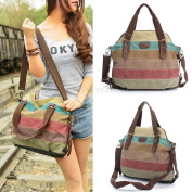 Women Canvas Stripe Handbag Shoulder Ladies Messenger Crossbody Tote Satchel Bag
