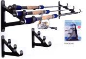 Wealers 3-rod Rack Fishing Rod Wall Holder Hanger Organiser, Wall Rack Space Saver,