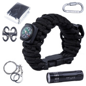 TTLIFE Superb Multi 12 Uses Survival Kit ( Paracord Bracelet with Compass, Bottle Opener, Whistle, Fire Starter and LED Flashlight, Emergency Blanket, Carabiner, Card Knife, Wire Saw)