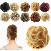 FESHFEN Donut Hair Chignons Hair Piece Wig Scrunchy Scrunchie Hair Bun Updo Hairpiece Hair Ribbon Ponytail Hair Extensions Wavy Curly Messy Extensions-144T613 Bright Pumpin Gold & Bleach Blonde