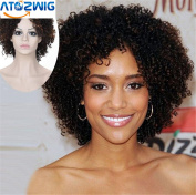 ATOZWIG Short Brown Ombre Wig Short Wigs For Black Women Kinky Curly Afro Wig Synthetic Hair Wigs For Women Perruque Plucas