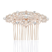 Remedios 3 Colours Rhinestone Wedding Hair Comb Bridal Hair Accessory Hair Clip, Rose Golden