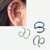 5PCS Piercing Women Girls Men 16G Stainless Steel Non-piercing Fake Lip Nose Ring Clip-on Cartilage Septum Earring Hoop