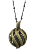 Statement Antique Bronze Lava Stone Essential Oil Diffuser Necklace- 80cm