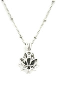 Glory Lotus Flower 316L Stainless Steel Silver Essential Oil Diffuser Necklace- 46cm