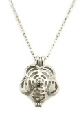 Flip Flower Reversible Silver Essential Oil Diffuser Necklace- 46cm
