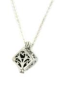 Wish Prayer Box Silver Essential Oil Diffuser Necklace- 46cm