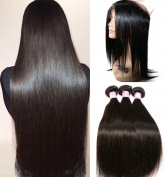 Beauty Forever Brazilian Straight Hair 360 Lace Frontal Closure With Bundles, 100% Unprocessed Human Virgin Hair Straight Hair Weft