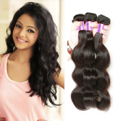 B & P Hair Brazilian Body Wave 3 Bundles Virgin Human Hair Weave Extensions Grade 7A Unprocessed Natural Black Colour