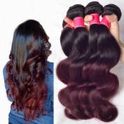 Wigsforyou Body Wave Brazilian Ombre Human Virgin Remy Hair Bundles Extension Colour 1b/99j Burgundy 4 Bundles Human Hair Weave
