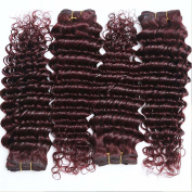 REINE 5PCS burgundy deep wave hair 100 human hair extensions
