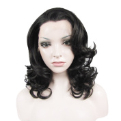 Synthetic Lace Front Wig Medium Hair Length Wave Nature Black