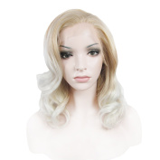 Synthetic Lace Front Wig Medium Hair Length Wave Blonde