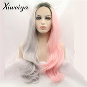 Xiweiya Long Natural Wavy Short Dark Root Ombre Pink to Silvery Grey Mix Colour Synthetic Lace Front Wig Heat Resistant Hair Wigs For Women