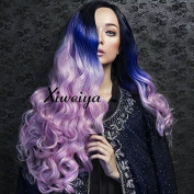 Xiweiya Dark Root Ombre Blue to Pink Synthetic Lace Front Wig Long BodyWave Heat Resistant Hair Wigs For Women