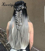 Xiweiya Dark Root Long Silk Straight Ombre Silvery Grey Lace Front Wig 2 Tones Synthetic Hair For Women